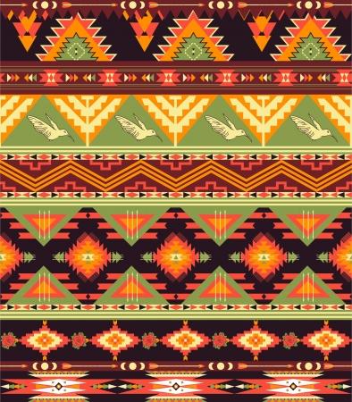 새와 화살표 원활한 화려한 아즈텍 패턴