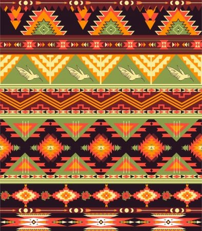 mayan culture: Seamless colorful aztec pattern with birds and arrow