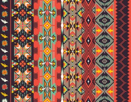 motif indiens: Azt�ques seamless pattern sur la couleur chaude Illustration