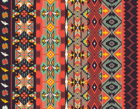 indian summer: Aztecs seamless pattern on hot color Illustration
