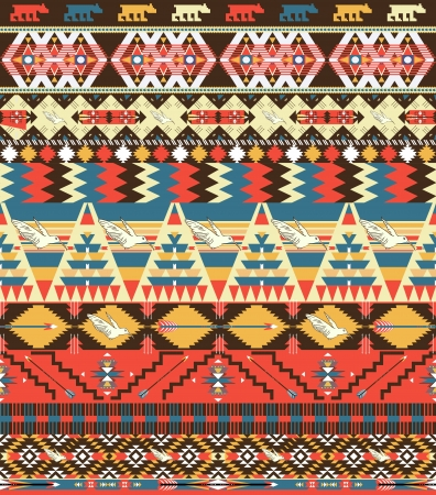 Seamless colorful aztec pattern with birds, flowers and arrow Vector