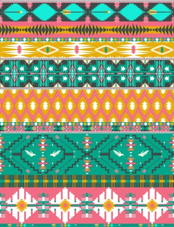 Seamless colorful aztec pattern with birds, and arrow Vector
