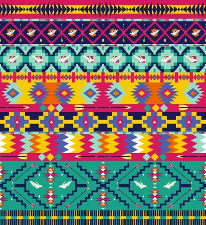 원활한 화려한 아즈텍 조류와 패턴, 및 화살표 일러스트