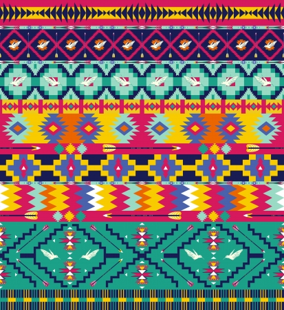 indigenous: Seamless colorful aztec pattern with birds, and arrow