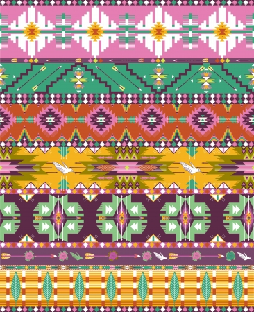 american culture: Seamless colorful aztec geometric pattern with birds and arrows Illustration
