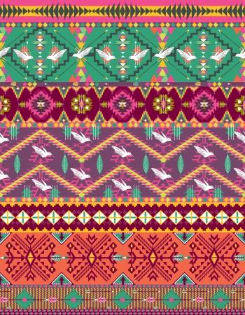motif indiens: Motif azt�que color� transparente avec les oiseaux Illustration