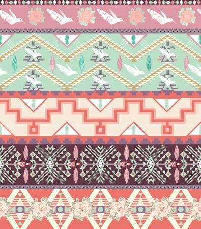 새와 장미와 원활한 파스텔 아즈텍 패턴