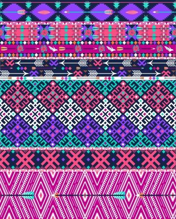 새와 꽃과 부족 원활한 아즈텍 패턴