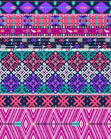 Tribal seamless aztec pattern with birds and flowers Vector