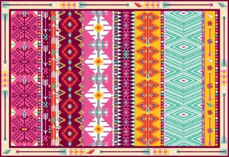 새와 화살표와 원활한 다채로운 아즈텍 카펫 일러스트