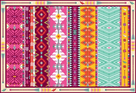 Seamless colorful aztec carpet with birds, and arrow Vector