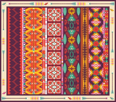 새, 꽃과 화살표와 원활한 다채로운 아즈텍 카펫 일러스트