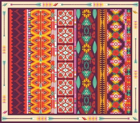 native indian: Transparente colorido alfombra azteca con los p�jaros, las flores y la flecha