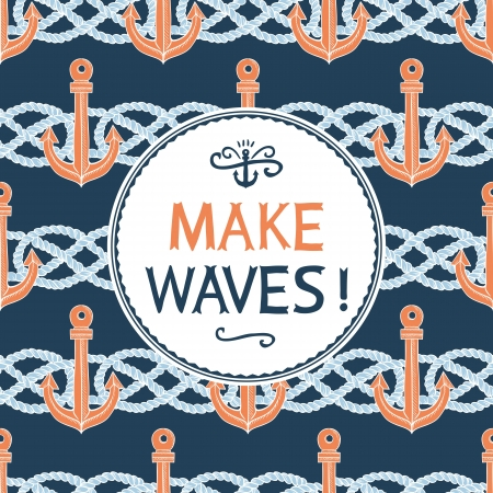 Retro anchors symbol on hipster background made of anchors and rope knots  Label retro design on hipster style with typography quotes