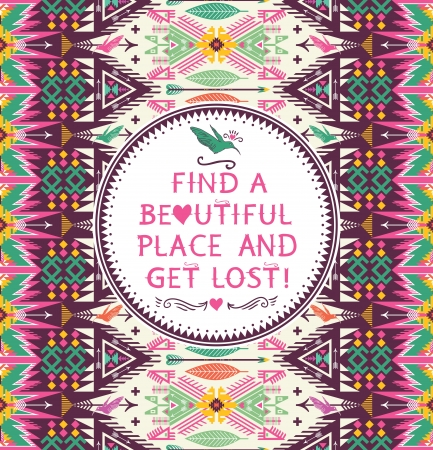 quotes: Hipster seamless aztec pattern with geometric elements and quotes typographic text