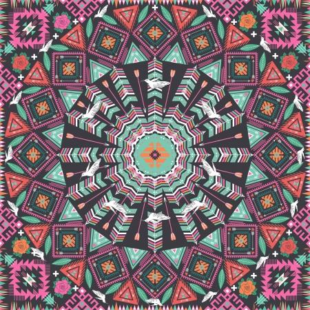 장식 라운드 아즈텍 기하학적 인 패턴, 장미와 조류와 많은 화려한 요소와 원형 배경