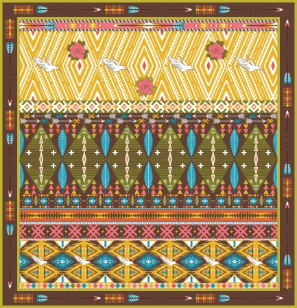 Seamless colorful aztec rug with birds, and arrow Vector