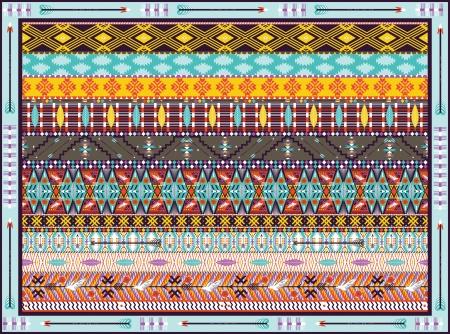 원활한 다채로운 기하학적 부족 조류와 양탄자, 화살표