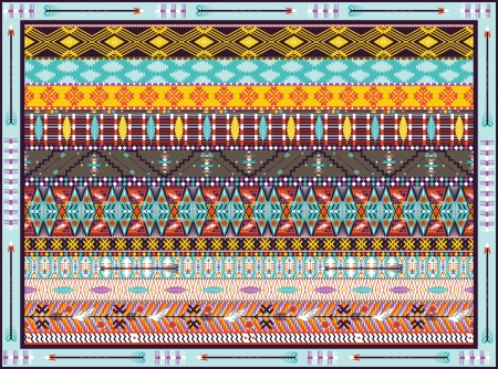 Seamless colorful geometric tribal rug with birds, and arrow Illustration