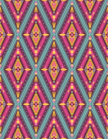 Hipster seamless colorful tribal pattern with geometric elements Illustration