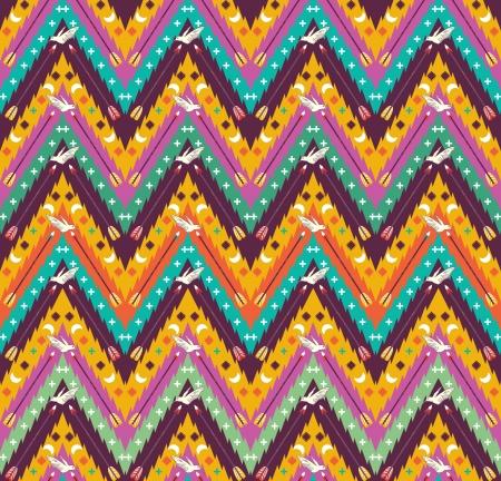 새와 화살표와 함께 완벽 한 화려한 아즈텍 기하학적 패턴