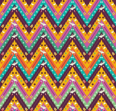 Seamless colorful aztec geometric  pattern with birds and arrows Vector