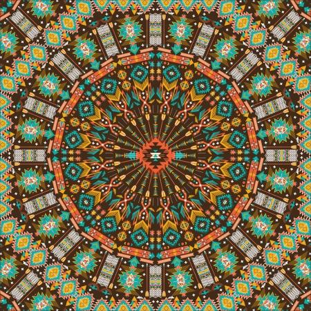 장식 라운드 아즈텍 기하학적 인 패턴, 많은 세부 사항과 원 배경 일러스트
