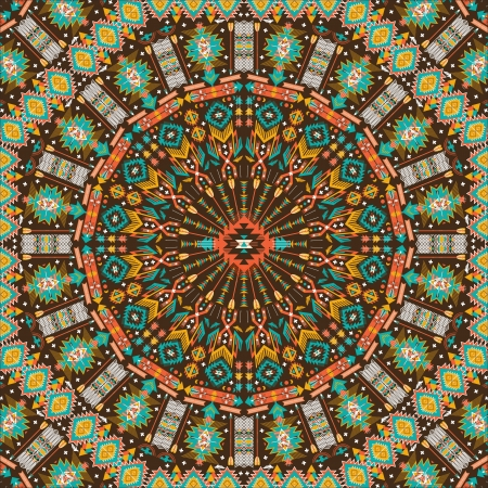 Ornamental round aztec geometric pattern, circle background with many details