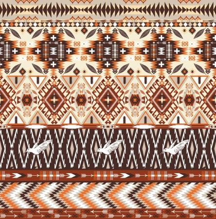 원활한 화려한 아즈텍 부족 기하학적 패턴