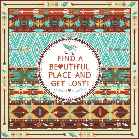 indio americano: Hipster patr?n azteca sin fisuras con elementos geom?tricos y citas de texto tipogr?fico Vectores