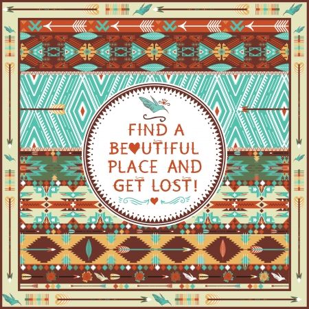 american indian aztec: Hipster seamless aztec pattern with geometric elements and quotes typographic text
