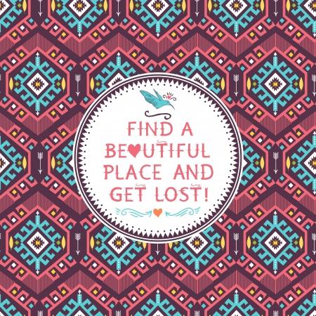 pattern: Hipster naadloze kleurrijke tribal patroon met geometrische elementen en citeert typografische tekst Stock Illustratie