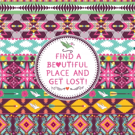 Hipster seamless colorful  tribal pattern with geometric element