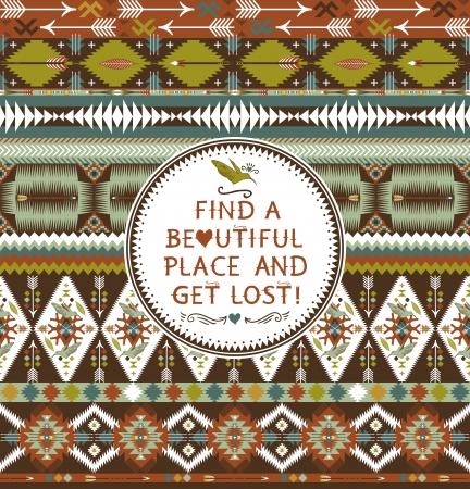 indio americano: Hipster patrón azteca sin fisuras con elementos geométricos y citas de texto tipográfico Vectores