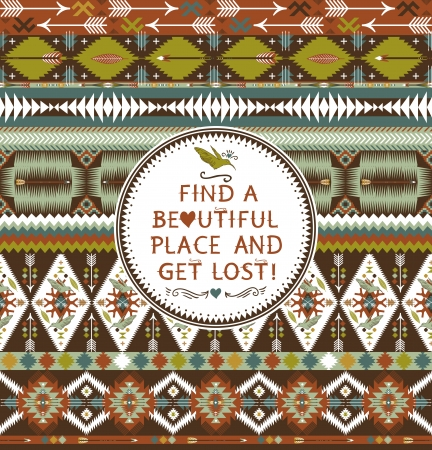 american indian: Hipster seamless aztec pattern with geometric elements and quotes typographic text