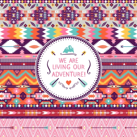 american culture: Hipster seamless colorful  tribal pattern with geometric elements and quotes typographic text Illustration