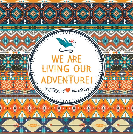 Hipster seamless colorful  tribal pattern with geometric elements and quotes typographic text Иллюстрация
