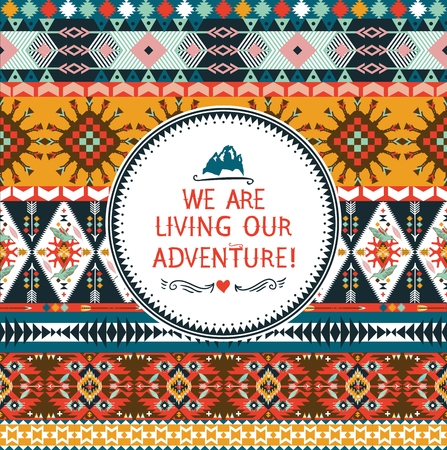 american culture: Hipster seamless colorful  tribal pattern with geometric elements and quotes typographic textHipster seamless colorful  tribal pattern with geometric elements