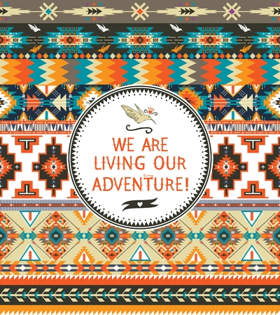 american culture: Tribal seamless pattern with geometric elements and  typographic quotes