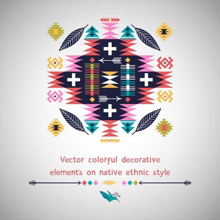 흰색 배경에 네이티브 아메리칸 스타일의 장식 요소