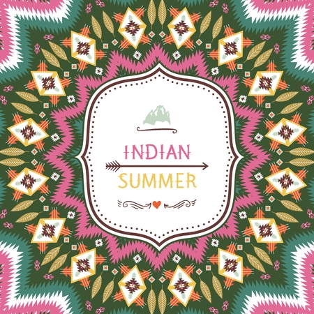 indian summer: Ornamental round aztec geometric pattern, circle background with many colorful elements