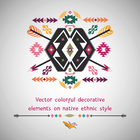 Ethnic decorative element on native ethnic style Vector