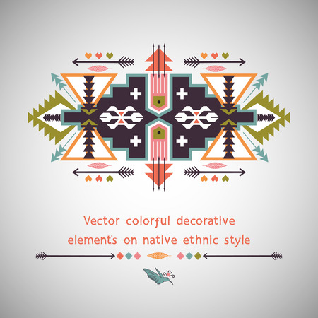 american indian aztec: Ethnic decorative element on native ethnic style