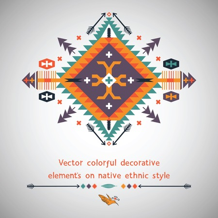 Vector colorful decorative elements on ethnic style