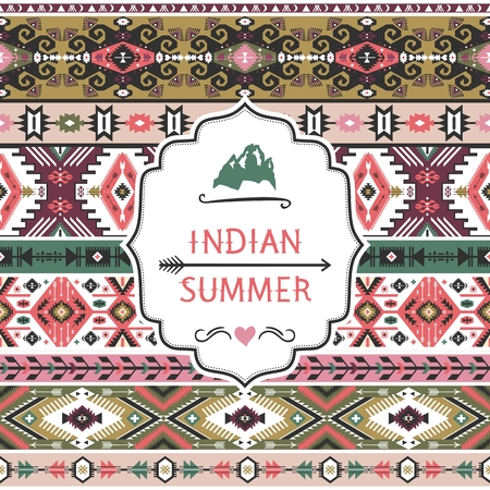 navajo: Navajo seamless colorful  tribal pattern with quotes Illustration