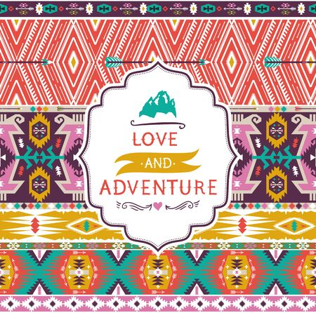 motivating: Navajo seamless tribal pattern with quotes on labels Illustration