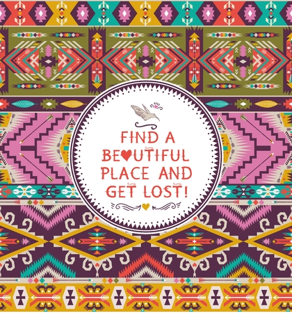 Navajo seamless tribal pattern with quotes on labels Illustration