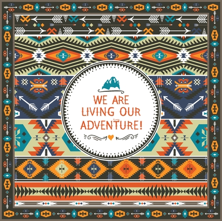 american indian aztec: Navajo seamless tribal pattern with quotes on labels Illustration