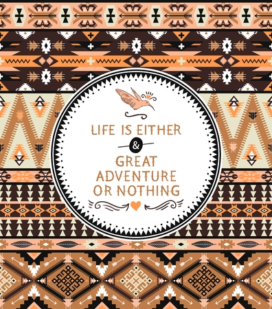 Navajo seamless tribal pattern with quotes on labels Иллюстрация