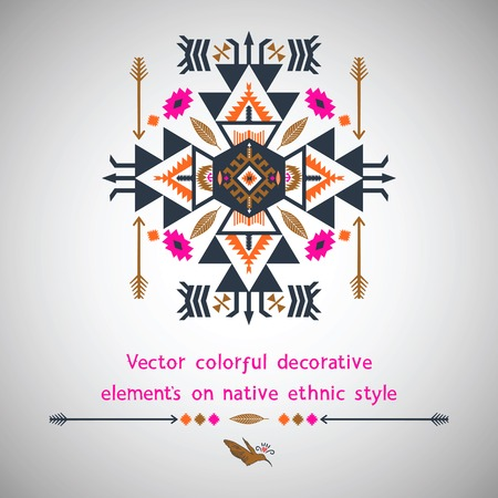 Colorful  decorative elements on navajo style  with birds and arrows Vector